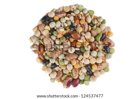 Image assorted beans in circle shape against white background