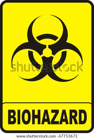 image biohazard warning color sign with yellow background