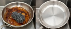 Image burnt pan before and after cleaning dirty cooking unclean able stained pot from burnt cooking pan with a stainless sponge compare with the clean pan shiny bright like new in the kitchen sink.