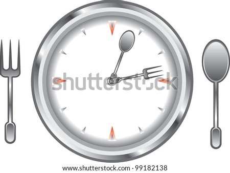 image clock face with a fork and spoon