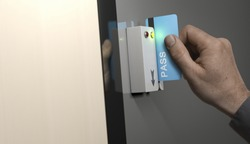 Image compositing between photography and 3D background. Hand with blue pass card unlocking access to a restricted area. Concept image for security and data protection.