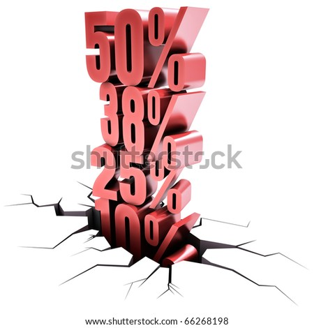 Image concept of discount. Several discount on top of one another represents a change of values.