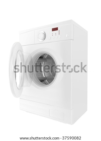 image 3d of classic washing machine with white background