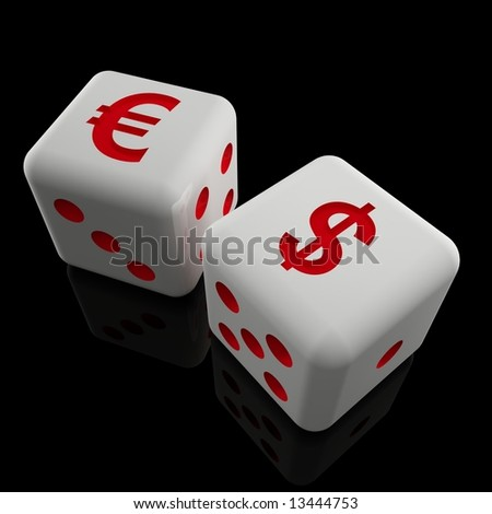 image 3d of dice with dollar and euro sign 01