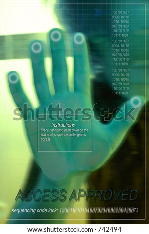Image depicting *Approval* access allowed via hand scan recognition technology - stock photo