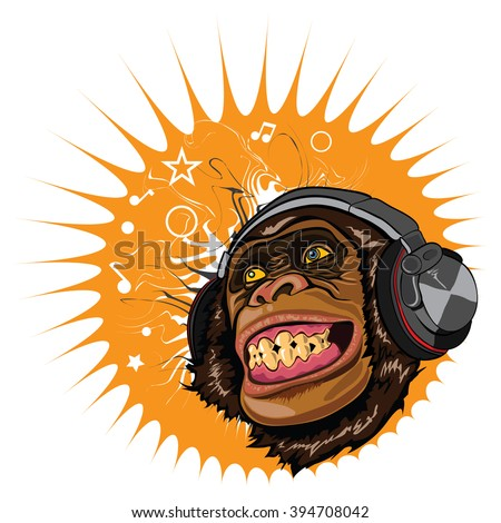 Image face marmoset. Funny cartoon monkey listens to music in headphones.