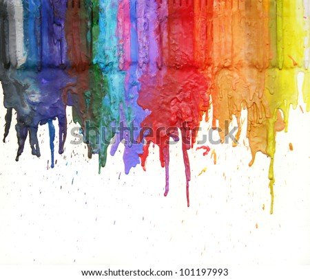 image from color and texture background series (melted coloring crayons) good for back to school theme or teaching elementary school children primary colors