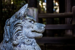 Image from public temple in Tokyo Japan of old artistic sculpture  marble Japanese fox and dog shape.