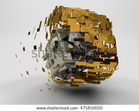 Stock Photo image golden cube, with scratches on the surface, the disintegrated into small pieces, and the black cube, which was destroyed into pieces on a white background, 3d rendering