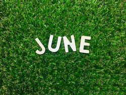 Image June,wooden alphabet June on green grass background with copy space for your text. Concept be used for calendar, month and background. Blur picture and exposure. Vintage style.