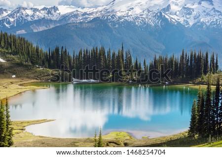 Image lake and Glacier Peak in Washington, USA #1468254704