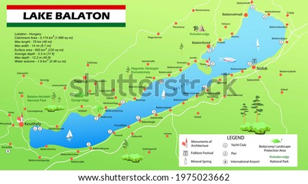 Image map of Lake Balaton in Hungary  Stock photo ©