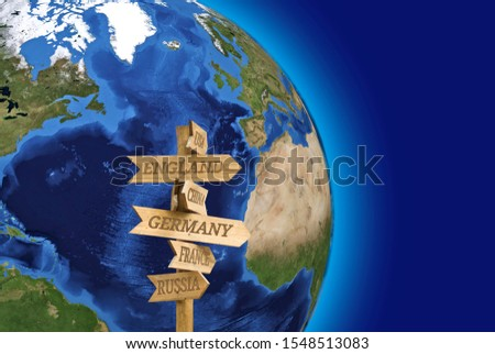 Image of a arrow direction that shows the direction to different countries on the background of the earth.Elements of this image furnished by NASA. #1548513083