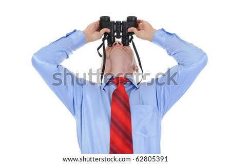 Image of a bald businessman looking up through binoculars. Isolated on white background