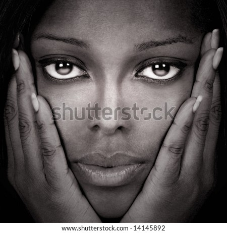 Image of a Beautiful Black Model in studio
