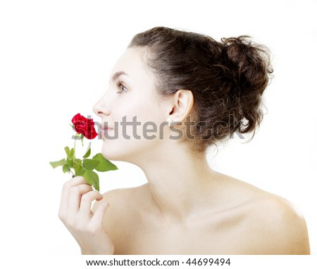 Image of a beautiful girl with a rose