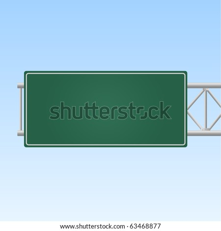 Image of a blank green highway sign against a sky background. #63468877