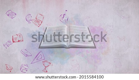 Image of a book with floating school pictograms on the white background. Education back to school concept digitally generated image.