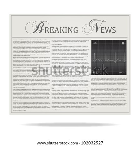 Image of a Breaking News newspaper headline isolated on a white background.
