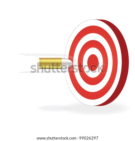 Image of a bullet about to hit a target isolated on a white background. - stock photo