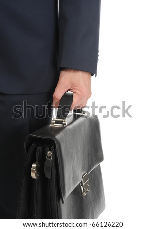 Image of a businessman holding a briefcase. Isolated on white background