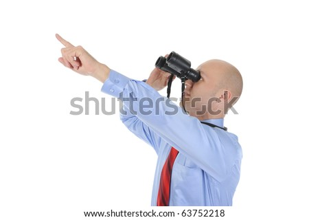 Image of a businessman looking up through binoculars. Isolated on white background