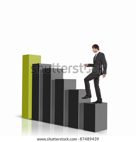 Image of a businessman standing on the top of financial charts