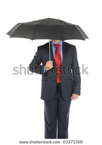 Image of a businessman with umbrella. Isolated on white background