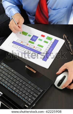 Image of a businessman working with documents in the office of the table #62225908