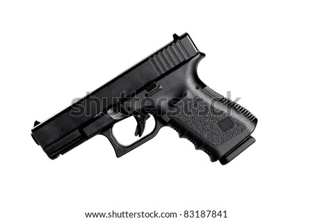 Image of a 40 caliber handgun on a white background