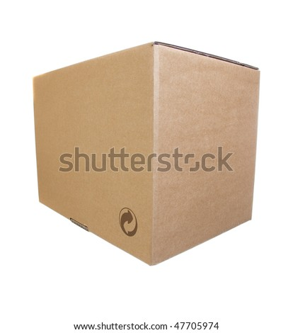 image of a cardboard closed box isolated over a white background