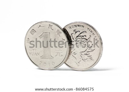image of a chinese one yuan coin isolated with white
