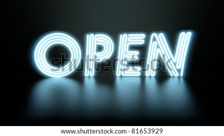 "Image of a colorful neon ""Open"" sign against a dark background."