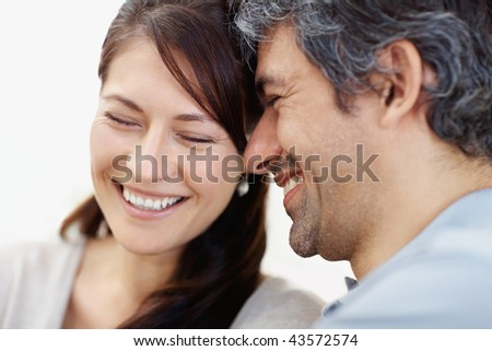 funny backrounds. Image of a couple laughing on funny conversation - White ackround