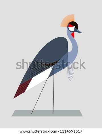 Image of a crowned crane in a geometric style on gray background, illustration