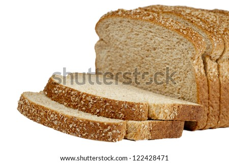 Photo of Image of a cut of loaf bread with sesame against white background