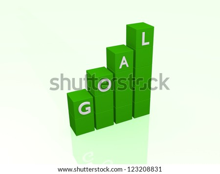Image of a 3D bar chart with the word goal isolated on a white background.