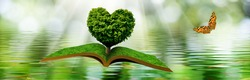 Image of a flying open book and a butterfly. Tree in the form of a stylized heart on a book on a background of a water surface