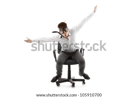 Image of a funny young man on chair