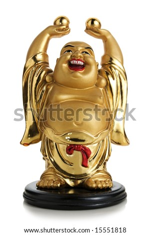 Image of a gold colored figurine of a laughing Buddha