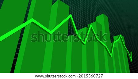 Image of a green statistic line and green graphs over a grid increasing on digital display. Global finances and statistics concept digitally generated image.