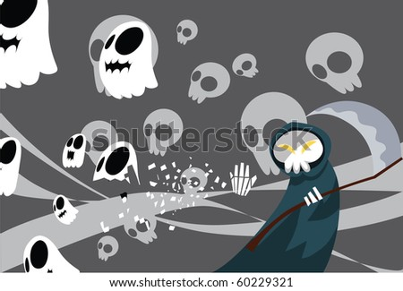 Image of a grim reaper which collects the spirits back to the underworld.