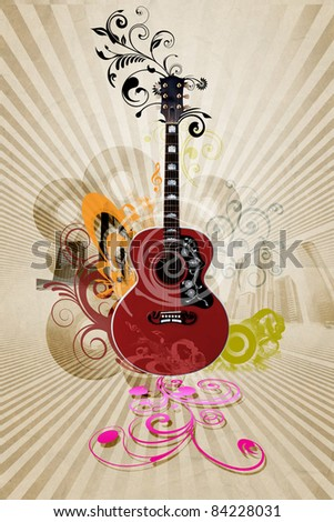 Image of a guitar against decorative background