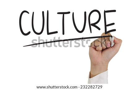 Image of a hand holding marker and write culture words isolated on white