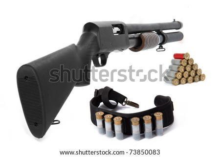 Image of a hunting rifle and ammunition on white background