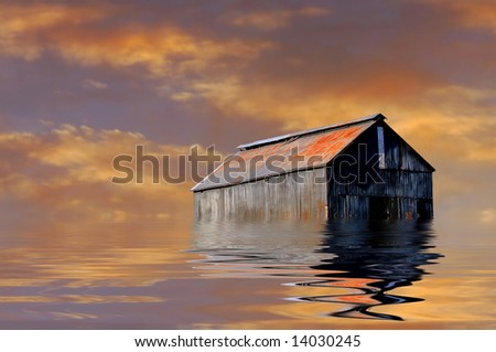 Image of a Iowa Farmhouse surrounded by Water from Flood