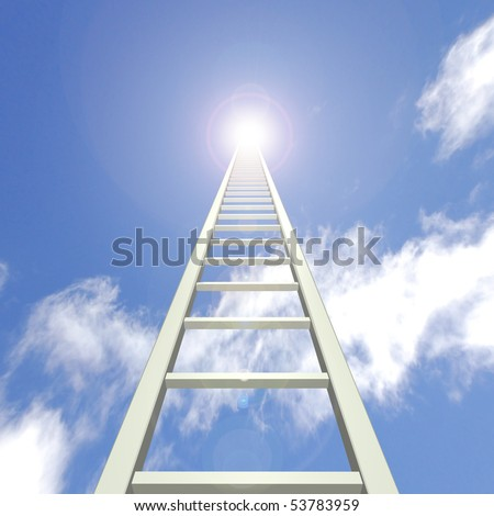 Image of a ladder reaching up towards a blue sky.