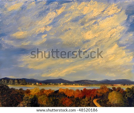 Image Of a landscape Painting Oil on Canvas