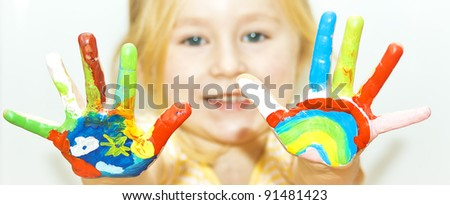 image of a little girl with hands painted, See my portfolio for more