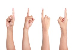 image of a man's finger pointing from four different angle of shot